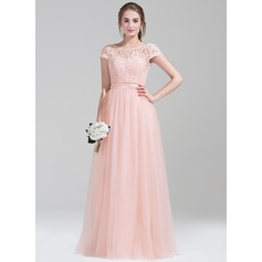 A-Line/Princess Scoop Neck Floor-Length Tulle Lace Bridesmaid Dress With Bow(s)