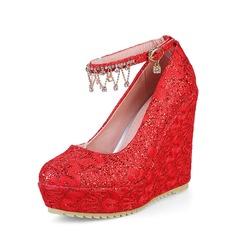 المرأة بو كعب ويدج منصة تو مغلقة أسافين مع سلسلة أحذية