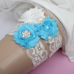 Elegant Lace/Chiffon With Rhinestone/Imitation Pearls Wedding Garters