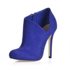 Suede Stiletto Heel Closed Toe Ankle Boots