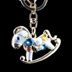 Classic Lovely Hobbyhorse Design Crystal/Chrome Keychains