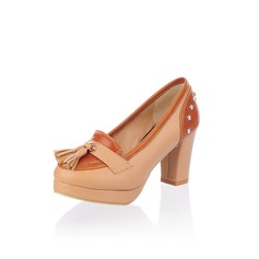 Leatherette Chunky Heel Closed Toe Platform Pumps With Tassel (085025198)