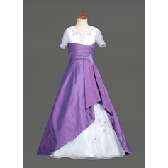 A-Line/Princess Sweep Train Flower Girl Dress - Taffeta/Organza Short Sleeves Scoop Neck With Embroidered/Beading/Sequins/Cascading Ruffles