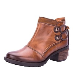Women's Real Leather Low Heel Pumps Closed Toe Boots Ankle Boots shoes