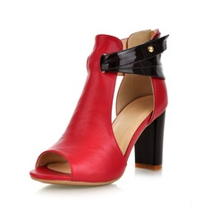 Real Leather Chunky Heel Sandals Pumps Peep Toe With Buckle shoes