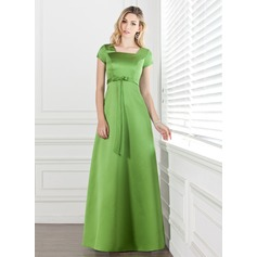 A-Line/Princess Square Neckline Floor-Length Satin Bridesmaid Dress With Bow(s)