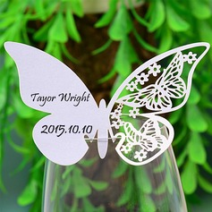 Butterfly Design Pearl Paper Place Cards  (131037410)