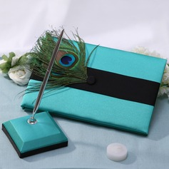 Peacock Feather Feather Guestbook & Pen Set