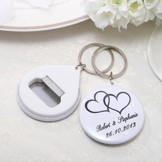 Personalized Round Plastic Keychains Bottle Opener (Set of 12)