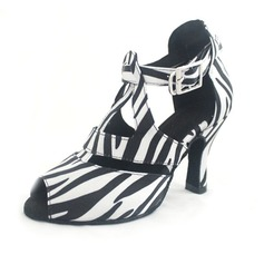 Women's Satin Heels Sandals Latin With Animal Print T-Strap Dance Shoes