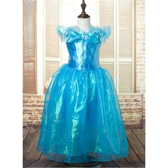 A-Line/Princess Flower Girl Dress - Tulle/Charmeuse Sleeveless Scoop Neck With Beading/Flower(s)