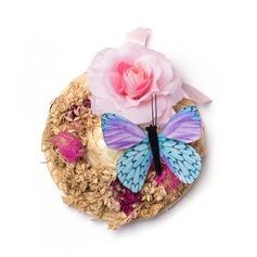 Round Artificial Silk/Dried Flower Boutonniere/Men's Accessories