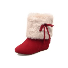 Women's Suede Flat Heel Ankle Boots With Ribbon Tie Fur shoes