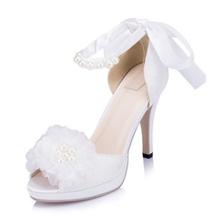 Women's Lace Satin Stiletto Heel Peep Toe Sandals With Imitation Pearl