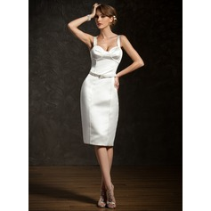 Sheath/Column Sweetheart Knee-Length Satin Cocktail Dress With Sash