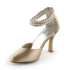 Satin Stiletto Heel Closed Toe Pumps Wedding Shoes With Imitation Pearl (047005443)