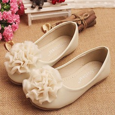 Girl's Leatherette Flat Heel Round Toe Closed Toe With Flower