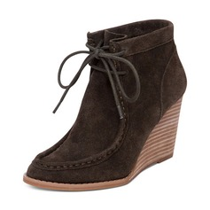Women's Suede Wedge Heel Wedges Boots Ankle Boots With Ribbon Tie shoes