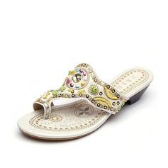 Women's Leatherette Flat Heel Flats Flip-Flops With Rhinestone shoes