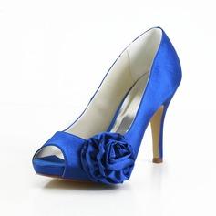 Women's Satin Cone Heel Peep Toe Platform Sandals With Satin Flower