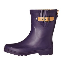 Women's Rubber Low Heel Mid-Calf Boots Rain Boots With Buckle shoes