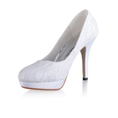 Women's Silk Like Satin Cone Heel Closed Toe Platform Pumps With Stitching Lace