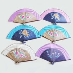 Floral Design Sandalwood/Cotton Hand fan (Set of 4)