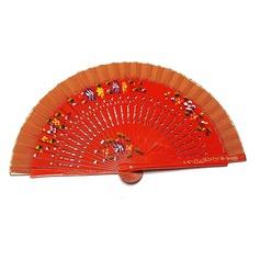 Floral Design Wooden Hand fan (Set of 4)