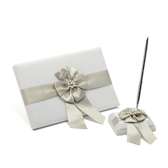 Beautiful Satin Faux Pearl/Bow Guestbook/Pen Set
