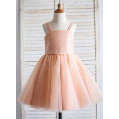 A-Line/Princess Knee-length Flower Girl Dress - Tulle/Sequined Sleeveless Straps