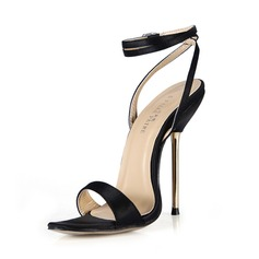 Silk Stiletto Heel Sandals Slingbacks With Buckle shoes