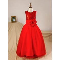 Ball Gown Floor-length Flower Girl Dress - Tulle/Sequined Sleeveless Scoop Neck With Flower(s)