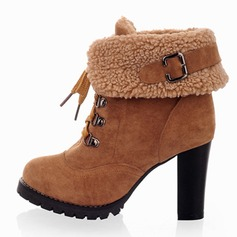 Suede Chunky Heel Pumps Ankle Boots With Buckle Lace-up shoes