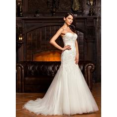 Trumpet/Mermaid Sweetheart Sweep Train Tulle Lace Wedding Dress