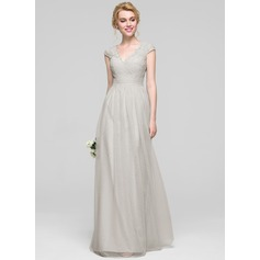 A-Line/Princess V-neck Floor-Length Tulle Bridesmaid Dress With Ruffle
