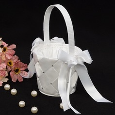 Nice Flower Basket in Satin With Ribbon & Faux Pearl