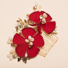 Flower Shaped Imitation Pearls/Silk Flower Combs & Barrettes