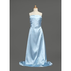 A-Line/Princess Strapless Sweep Train Charmeuse Junior Bridesmaid Dress With Ruffle
