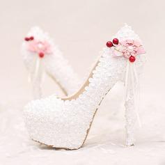 Women's Leatherette Stiletto Heel Closed Toe Platform Pumps With Imitation Pearl Flower Tassel