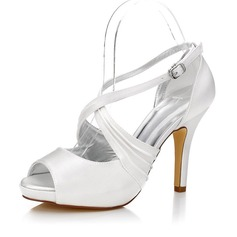 Women's Satin Stiletto Heel Peep Toe Sandals Dyeable Shoes