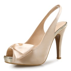 Women's Satin Stiletto Heel Sandals Pumps Peep Toe Slingbacks With Bowknot shoes
