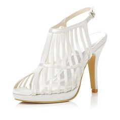 Women's Satin Stiletto Heel Peep Toe Sandals With Buckle Hollow-out
