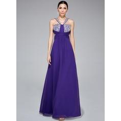 A-Line/Princess V-neck Floor-Length Chiffon Prom Dress With Ruffle Beading
