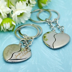 Personalized Embracing Hearts Stainless Steel Keychains (Set of 4 Pairs)