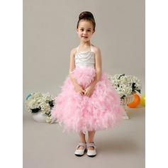 A-Line/Princess Tea-length Flower Girl Dress - Feather/Tribute silk Halter With Beading