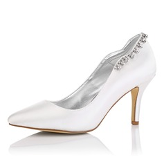 Women's Satin Stiletto Heel Closed Toe Pumps Dyeable Shoes With Rhinestone