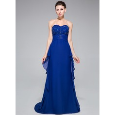 Trumpet/Mermaid Sweetheart Sweep Train Chiffon Evening Dress With Beading Appliques Lace Cascading Ruffles