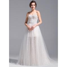 A-Line/Princess Sweetheart Short/Mini Detachable Tulle Lace Wedding Dress