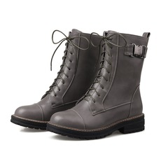 Leatherette Low Heel Platform Closed Toe Martin Boots With Braided Strap shoes