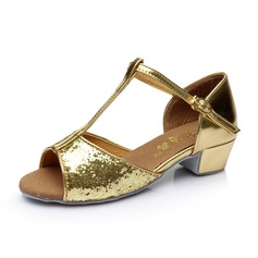 Women's Kids' Sparkling Glitter Heels Sandals Latin With T-Strap Dance Shoes